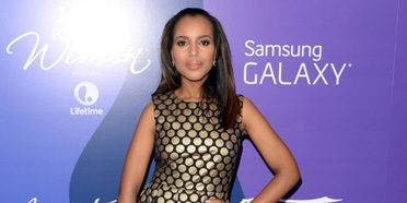 kerry washington Vince Camuto Sleeveless Dot Party Dress Header